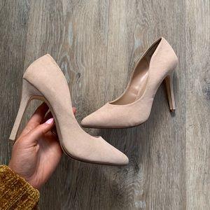 Nude pointed suede heels